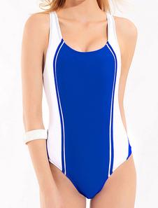 Fabuleux maillot de bain 1 piece de plage en polyester creusé bicolore à dos décolleté pour femme