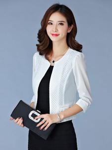 Image of Tailleur casuale chic & moderno abbigliamento giornaliero monocolore in tulle con scollo tondo maniche a 3/4