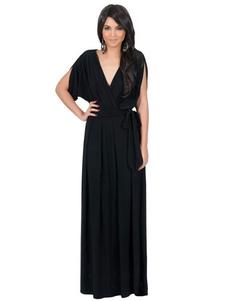 Image of Abito maxi nero da donna sposato a manica lunga manica lunga V vestito nero
