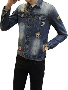 Image of Giubbotto da cowboy blu in denim vintage con colletto normale