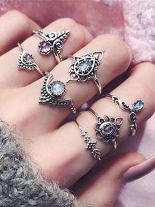 Image of Anello con diamanti anello argento chic & moderno fuori in lega
