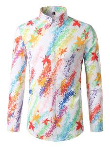 Image of Camicia casual bianca Camicia a maniche lunghe a manica lunga con colletto a scomparsa Camicia da uomo stampata in alto