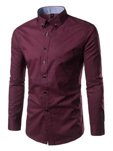 Camisa de algodón mezclado con manga larga Color liso