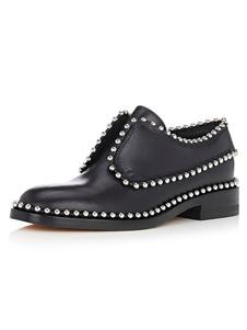 Zapatos de vestir de tacón gordo de puntera redonda de cuero auténtico negros Artísticos con remache para hombre Primavera