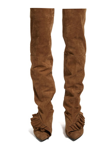 Thigh High Boots Brown Pointed Toe Nubuck Pleated Flat Slip On Over Knee Boots For Women