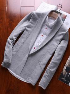 Cárdigan de algodón de cuello vuelto Color liso cómodo