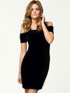 Image of Vestito nero da bodycon Vestito da sposa rotondo da spalla Freddo Cut Out Vestiti estivi per le donne