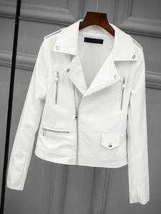 Image of Giacca da moto 2019 boyfriend bianca a maniche lunghe da giacca