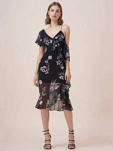 Image of Vestito nero da bodycon Dress Asymmetrical One Half Man Sleeve Stampa floreale Vestiti estivi da donna