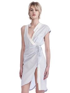 Image of Bianco Dress Bodycon Asimmetrico Short Sleeve Striped Tagliare Vestiti estivi Donna Split