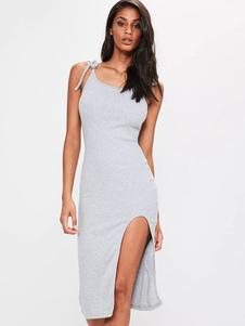 Image of Vestiti da sposa in raso senza spalline senza maniche in spaghetti grigio chiaro da donna