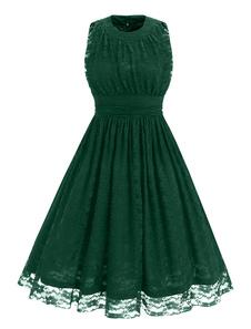 Image of Vestito da pieghe senza maniche in raso senza maniche in pizzo del vestito dell'annata del merletto