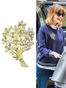 Image of Spilla ora in lega d'acciaio perle chic & moderna fiore fuori donna