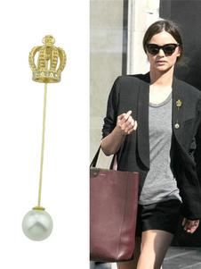 Image of Spilla ora perle elegante fuori donna