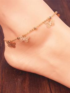 Image of        Cavigliera in lega d'acciaio con decori in metallo farfalla croc