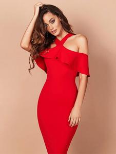 Robe de Soirée rouge Cou original en polyester élégante été