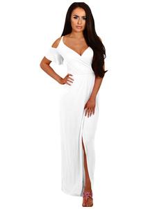 Image of Maniche corte bianca da spalla a manica corta da spalla tagliata fuori dai vestiti lunghi sparsi per le donne