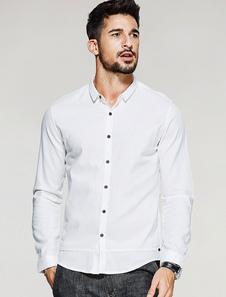 Image of Camicia bianca casual Camicia a maniche lunghe a colletto di turndown per gli uomini