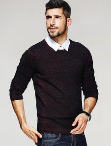 Image of Maglione Pullover Uomo Maglione Slim Fit Slim Fit Maglia Manica Lunga Scuro Rosso Scuro