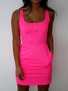 Image of Rose Dress Bodycon Vestiti U senza maniche Collo per le Donne
