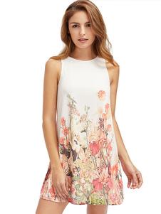 Image of Vestito corto bianco cotone stampa floreale con scollo tondo smanicato da viaggio donna