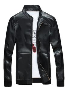 Image of Giacche in pelle nera Colletto uomo manica lunga Giacca regolabile