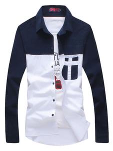 Image of Camicia casual bianca Camicia da cotone maschile a maniche lunghe con colletto a turndown