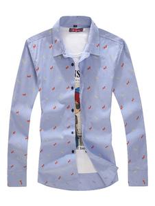 Image of Camicia blu camicia a maniche lunghe stampata camicia da turno regolabile Camicia da uomo regolare