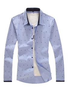 Image of Camicia blu camicia a maniche lunghe Camicia da notte stampata a colletto