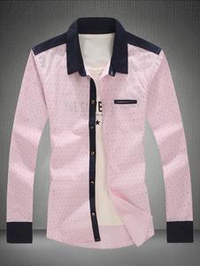 Image of Camicia casuale rosa camicia a maniche lunghe con colletto stampato Camicia da uomo