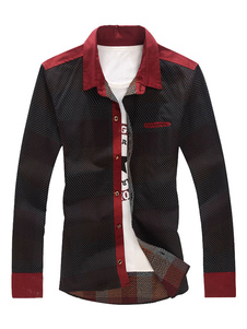Image of Camicia Nera Casual Camicia Manica Lunga Manica Camicia Collana Colore Camicia