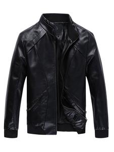 Image of Giacche in pelle nera Colletto uomo manica lunga Zip Up Giacca corta