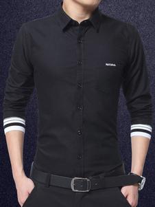 Image of Camicia casual nera Camicia da uomo ricamata manica lunga con colletto in turndown