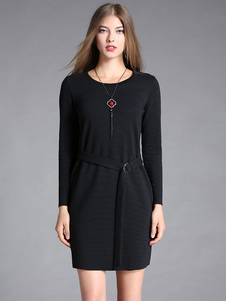 Image of Vestiti casual da donna delle maniche lunghe del manicotto rotondo del vestito dal bodycon nero