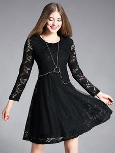 Image of Abiti in pizzo neri con scollo tondo maniche lunghe chiodati donna
