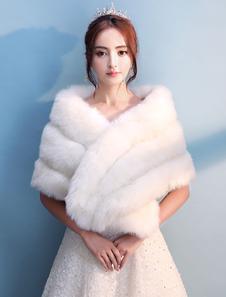 Image of Copricapo di Bolero della pelliccia di cerimonia nuziale Abito da sposa dell'avorio della copertura del partito di Shrug