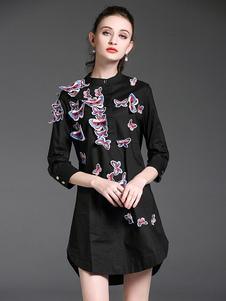 Image of Vestito chemisier cotone nero casuale donna disegno di farfalla maniche a 3/4 a girocollo primavera