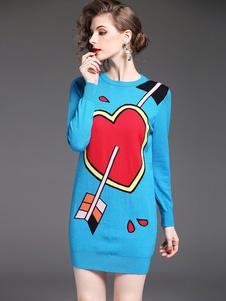 Image of Abito in maglia blu con scollo tondo maniche lunghe disegon a cuore Accessori non inclusi. chic & moderno donna