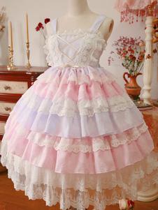 Image of Rococo Lolita Vestito JSK pizzo bordo chiffon strati increspature colore rosa rosa Lolita Jumper Gonna