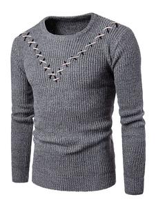 Image of Pullover da uomo casual con blocchi di colore cotone misto abbigliamento giornaliero con scollo tondo maniche lunghe casuale
