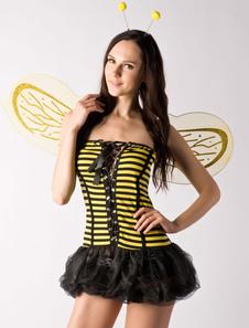 Image of Costume ape sexy set giallo narciso ali accessori per la testa ape con blocchi di poliestere Carnevale per adulti di poliestere per donno