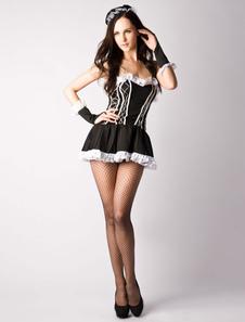 Image of Costume da cameriera sexy nero carnevale con blocchi di colore di poliestere per adulti accessori per la testa&abito