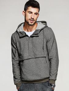 Sweat populaire Brun à capuche pour homme manches longues casual bicolore de modèle standard Top