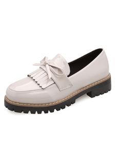 Loafers de qualité pour femme unicolore avec frange à talons épais confortable quotidienne Loafers et bout rond
