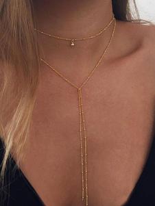 Image of Collana a strati dorati Dettagli metallici Fringe Collana alla moda Choker Donna