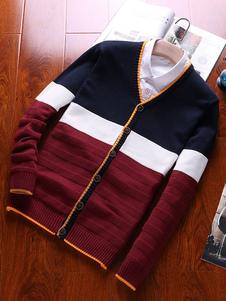 Cárdigan de algodón con cuello en V de color-blocking estilo informal