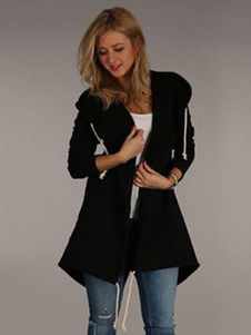 Image of Cappotto monocolore casual cotone misto spacco frontale