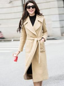 Image of Cappotto snellente chic & moderno monocolore in lana mista cintura