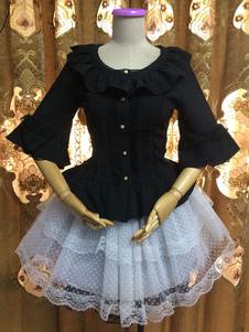 Image of Camicetta Lolita gotica monocolore pieghettature mezze maniche con scollo tondo