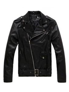 Image of Giacca di Pelle da Uomo nera in cuoio poliuretano comoda con colletto monocolore abbigliamento giornaliero con Zip normale vestibilità Classica